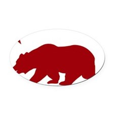 California Bear Red2 Oval Car Magnet