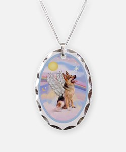 OvOrn-Clouds-German Shepherd 1 Necklace Oval Charm