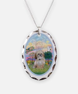 OvOrn-Cloud Angel - Shih Tzu ( Necklace Oval Charm