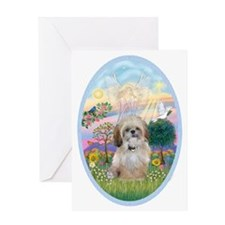 OvOrn-Cloud Angel - Shih Tzu (P) Greeting Card