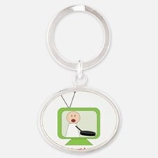 CookingShows copy Oval Keychain