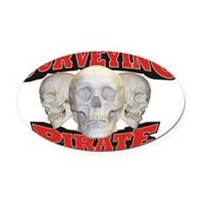 Pirate_Surveying_21x14 Oval Car Magnet