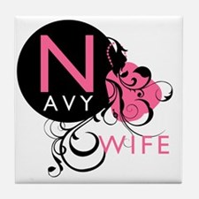 InitialLadyLikeNavyWife Tile Coaster