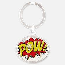 2-Pow 2 Oval Keychain