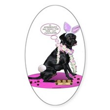 Black Lab Easter Oval Decal