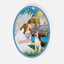 Angel Love - Beagle 1 Oval Ornament