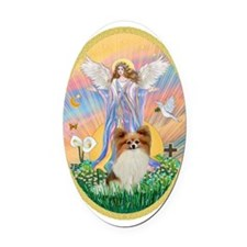Angel Blessings - Papillon (fawn) Oval Car Magnet