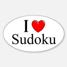 """I Love (Heart) Sudoku"" Oval Decal"