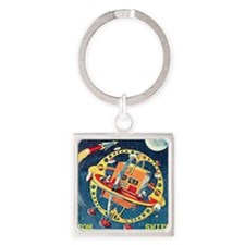 Challenger Space Rocket Square Keychain