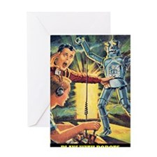 Plays With Robots Greeting Card