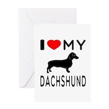 I Love My Dachshund Greeting Card