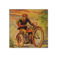 "Tom Swift Motorcycle Square Sticker 3"" x 3"""