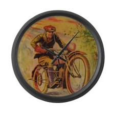 Tom Swift Motorcycle Large Wall Clock