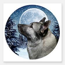 """Norwegian Elkhound Square Car Magnet 3"""" x 3"""""""
