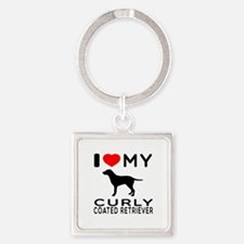 I Love My Curly-Coated Retriever Square Keychain