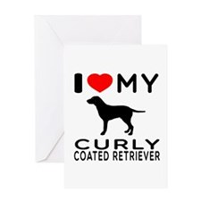 I Love My Curly-Coated Retriever Greeting Card