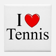 """I Love (Heart) Tennis"" Tile Coaster"