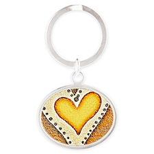 BFB Shimmering Heart Yellow&Dark Tan Oval Keychain