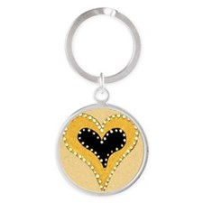 BFB Shimmering Heart Yellow&Tan 10x Round Keychain