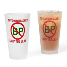 SAVEOURBEACHES_TRANSPARENT Drinking Glass