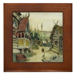 Russian Village Framed Tile
