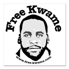 """Free Kwame - Round Square Car Magnet 3"""" x 3"""""""