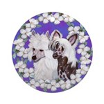 Chinese Crested Pair Ornament (Round)