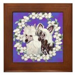 Chinese Crested Pair Framed Tile