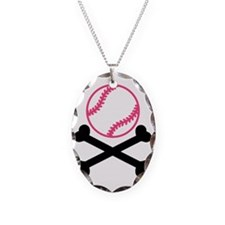 softball-cross-bones Necklace Oval Charm