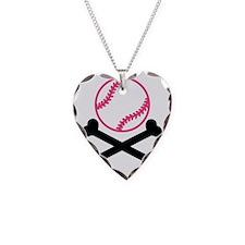 softball-cross-bones Necklace Heart Charm