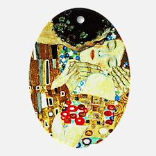 Klimt - The Kiss (closeup), Famous p Oval Ornament