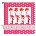 Pink Flamingo Polka Dot Daisy Shower Curtain