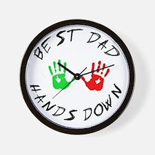best dad hands down tee Wall Clock