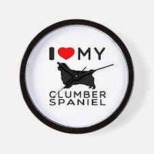 I Love My Clumber Spaniel Wall Clock