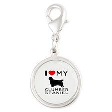 I Love My Clumber Spaniel Silver Round Charm