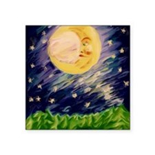 "Night Moon Square Sticker 3"" x 3"""