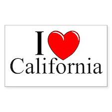 """I Love California"" Rectangle Decal"