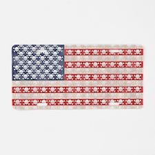 flag-skulls-T Aluminum License Plate