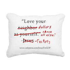 JesusVrsTeaPartyShirt Rectangular Canvas Pillow
