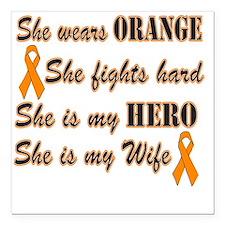 "She is Wife Orange Hero Square Car Magnet 3"" x 3"""