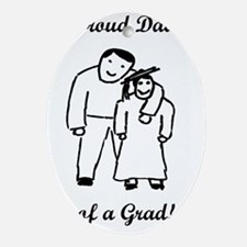 Proud Grad Dad-vertical-words Oval Ornament