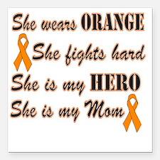 """She is Mom Orange Hero Square Car Magnet 3"""" x 3"""""""