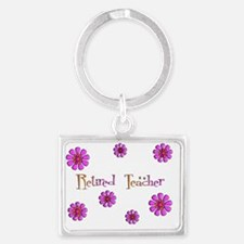 Retired Teacher Retro Pink Oran Landscape Keychain