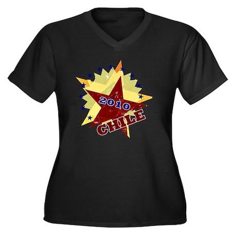 CHILIE_4 Women's Plus Size Dark V-Neck T-Shirt