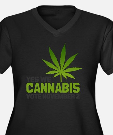 Cannabis MP Women's Plus Size Dark V-Neck T-Shirt