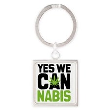 Cannabis Yes Square Keychain