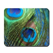 two blue peacock square Mousepad
