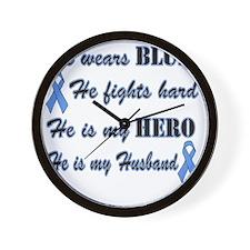 He is Husband Lt Blue Hero Wall Clock