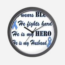 He is Husband Lt Blue Hero Wall Clock
