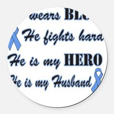 He is Husband Lt Blue Hero Round Car Magnet